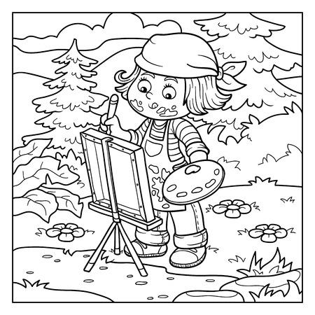 オープンエア: (自然、オープンエアに女の子アーティストを描画します) の子供のための塗り絵