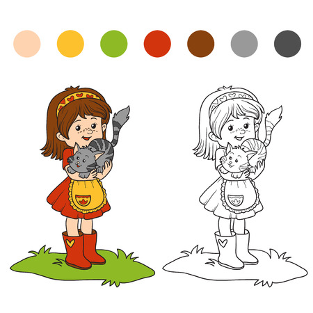 child girl: Coloring book for children (little girl with cute cat) Illustration