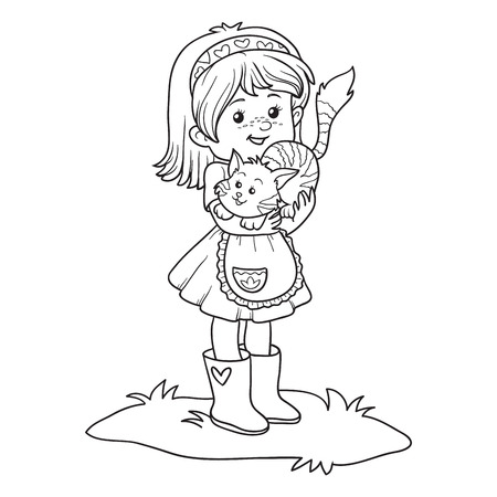 Dibujo Para Colorear Para Niños, Niña Con Un Gato Ilustraciones ...