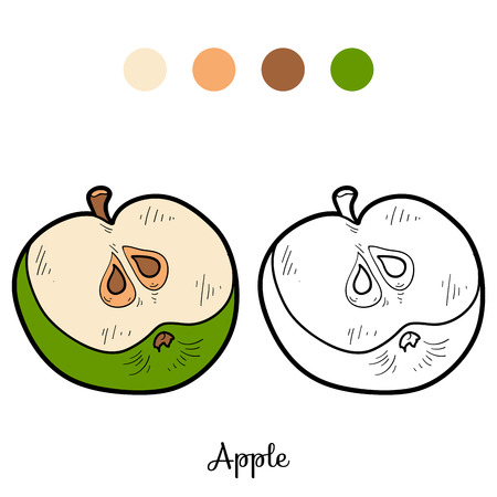 activity cartoon: Coloring book for children: fruits and vegetables (apple)