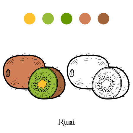 Coloring book for children: fruits and vegetables (kiwi) Vectores