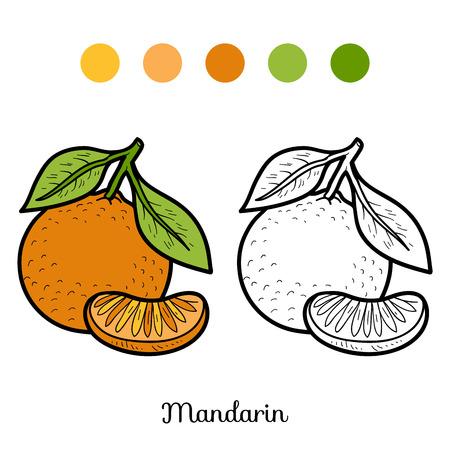 CITRICOS: Libro para colorear para niños: frutas y verduras (mandarín)