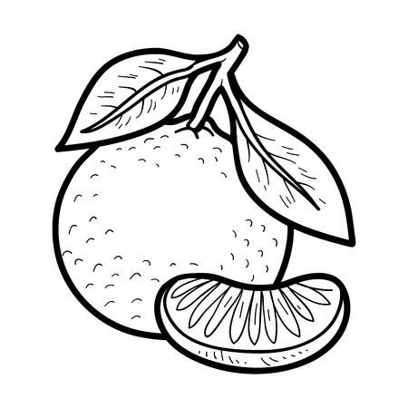 Coloring book for children: fruits and vegetables (mandarin) Stock Illustratie