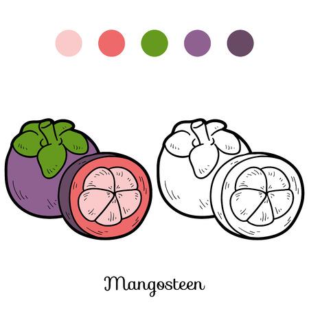 children book: Coloring book for children: fruits and vegetables (mangosteen) Illustration