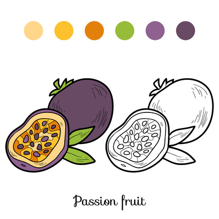 Coloring book for children: fruits and vegetables (passion fruit)