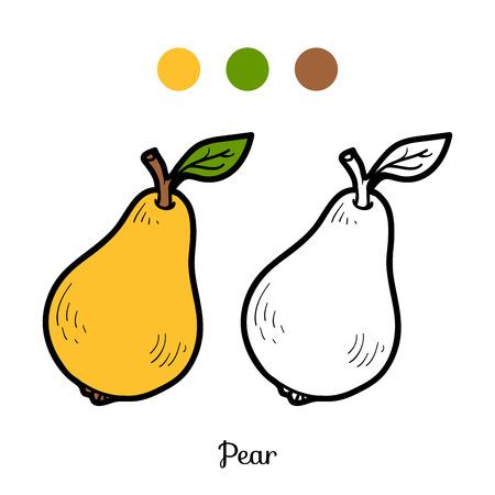 pera: Libro para colorear para niños: frutas y hortalizas (pera)