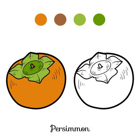 persimmon: Libro para colorear para niños: frutas y verduras (caqui)