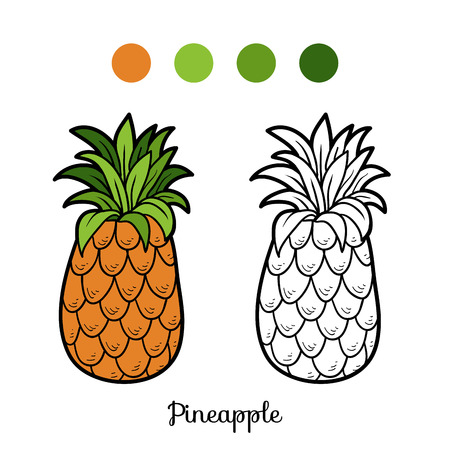 cartoon pineapple: Coloring book for children: fruits and vegetables (pineapple)