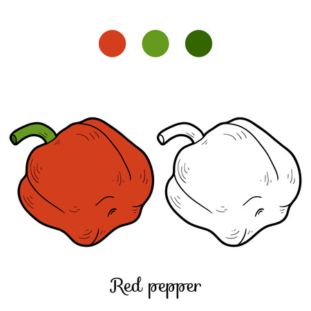 Coloring book for children: fruits and vegetables (pepper) Vectores