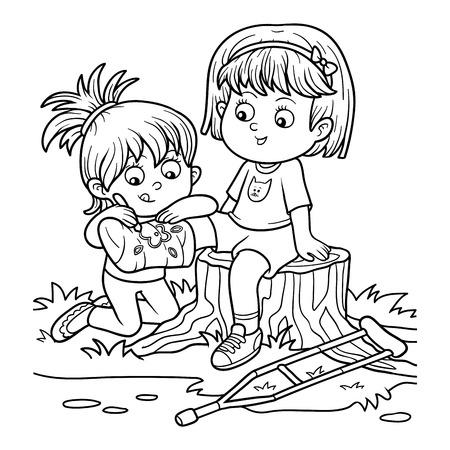 Kleurboek voor kinderen (twee meisjes op de open plek, meisje tekent op het gepleisterde been)