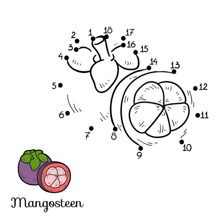 mangosteen: Numbers game for children: fruits and vegetables (mangosteen)