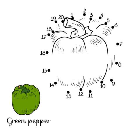 Nummers spel voor kinderen: groenten en fruit (peper) Stock Illustratie