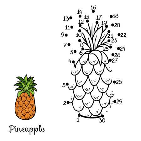 Numbers game for children: fruits and vegetables (pineapple)