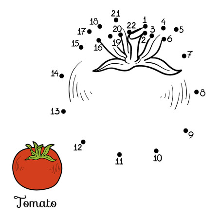 Numbers game for children: fruits and vegetables (tomato) Иллюстрация