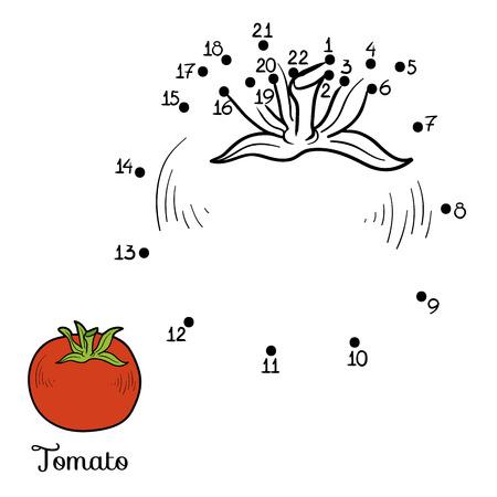 Nummers spel voor kinderen: groenten en fruit (tomaten)