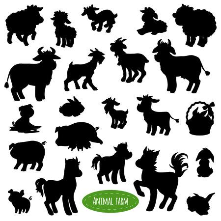 animal silhouettes: Set of farm animal silhouettes, shadows (pig, cow, horse, goat, sheep, rabbit)