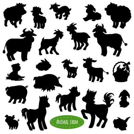 Set of farm animal silhouettes, shadows (pig, cow, horse, goat, sheep, rabbit)