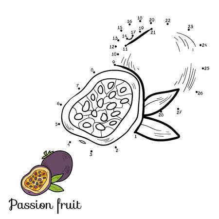 страсть: Numbers vector game for children: fruits and vegetables (passion fruit)