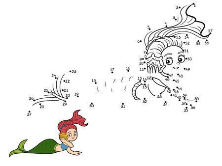 fairy tale princess: Numbers vector game for children (mermaids) Illustration