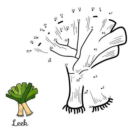 leek: Numbers vector game for children: fruits and vegetables (leek)