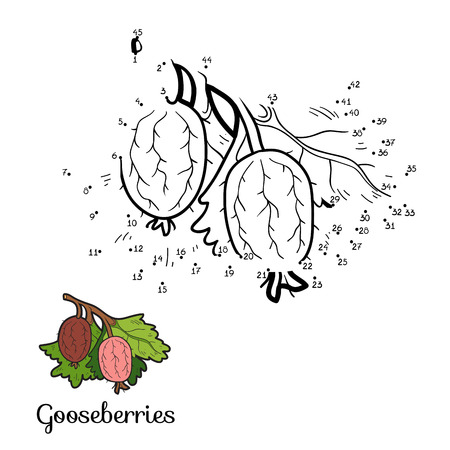 prickly fruit: Numbers game for children: fruits and vegetables (gooseberries)