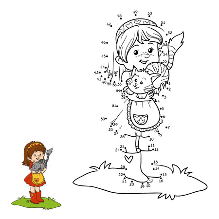 Numbers game for children (little girl with cute cat)
