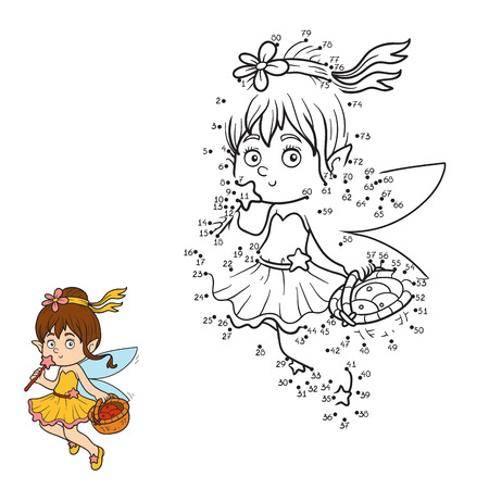 pixy: Numbers game for children (little fairy with a basket of fruit)