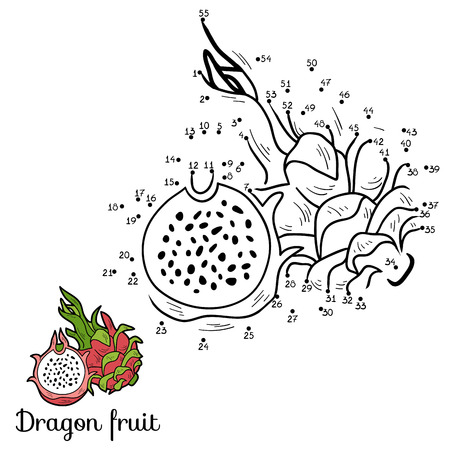 dragon fruit: Numbers vector game for children: fruits and vegetables (dragon fruit)