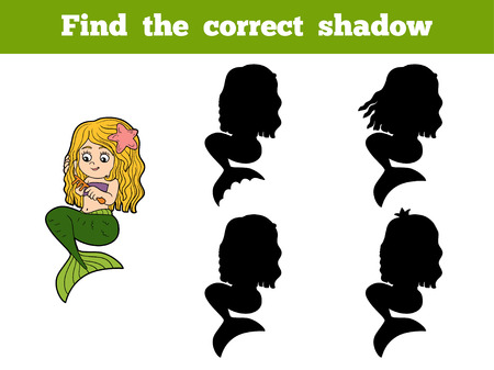 fairy tale mermaid: Find the correct shadow game for children (little girl mermaid)