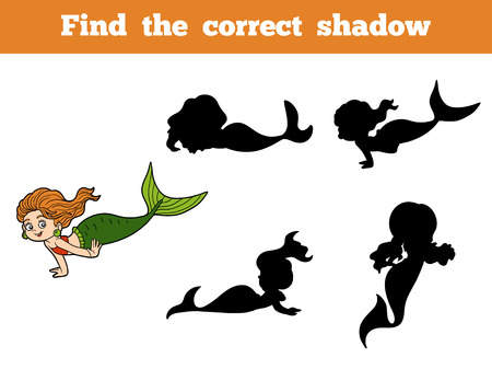 Find the correct shadow game for children (little girl mermaid)