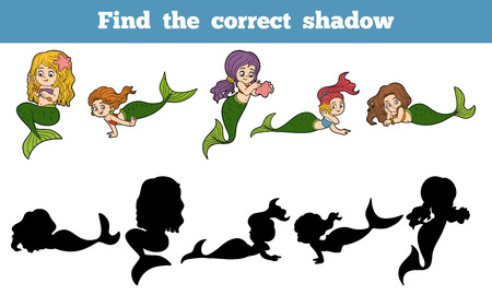 correct: Find the correct shadow game for children (set of mermaids)