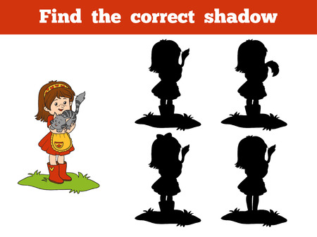 farm girl: Find the correct shadow game for children (little girl and cat)