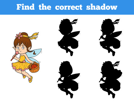 correct: Find the correct shadow game for children (little girl fairy) Illustration