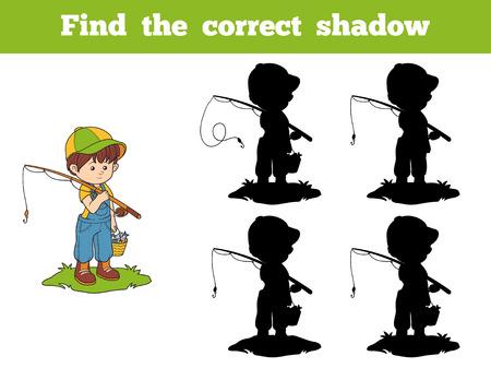 Trouver le jeu d'ombre correcte pour les enfants (garçon de pêcheur) Banque d'images - 43302586