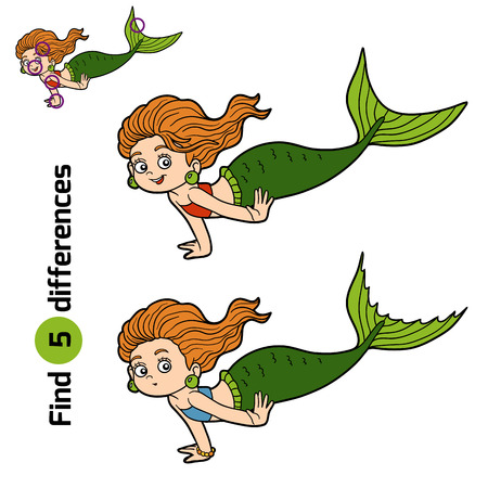 fairy tale mermaid: Find differences game for children (little girl mermaid) Illustration