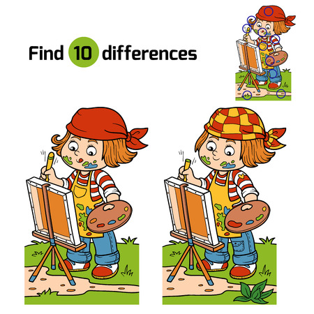find: Game for children: Find differences (Girl artist draws on nature, open air) Illustration