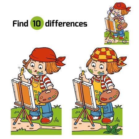 dibujos lineales: Juego para los ni�os: Encuentra las diferencias (artista Chica se basa en la naturaleza, al aire libre)