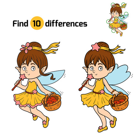 Game for children: find differences (little fairy with a basket of fruit)