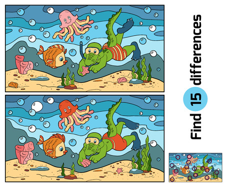 Education game for children: find differences (crocodile diver, ocean floor)