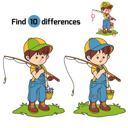 black and white farm animals: Game for children: find differences (little boy fisher)