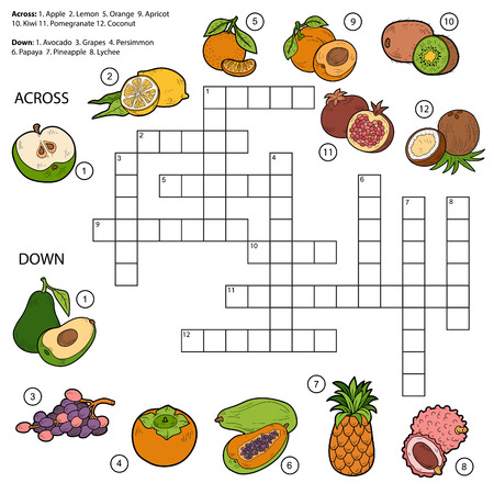 pineapples: Vector crossword, game for children about fruits (apple, kiwi, persimmon, grapes, papaya, lemon, pear, pineapple, avocado, lychee, orange, coconut)