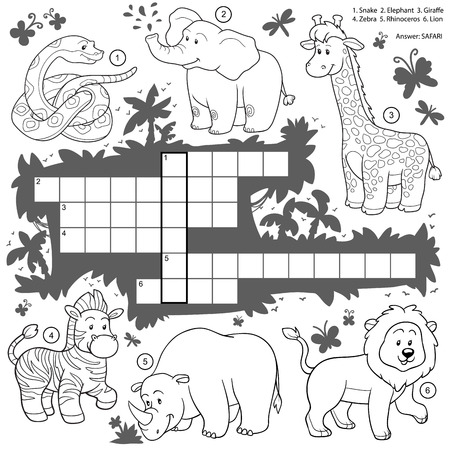 green crab: Vector colorless crossword, education game for children about safari animals