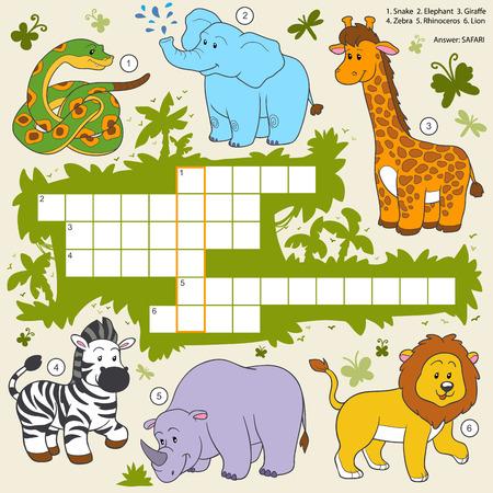 동물: 벡터 색 크로스 워드 퍼즐, 사파리 동물에 대한 아이들을위한 교육 게임