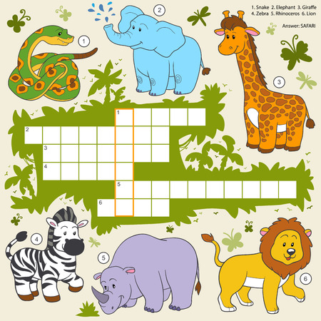 illustration zoo: Vector color crossword, education game for children about safari animals Illustration