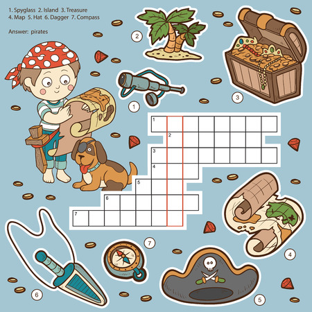 treasure: Vector color crossword, education game for children about pirates (spyglass, island, treasure, map, hat, dagger, compass) Illustration
