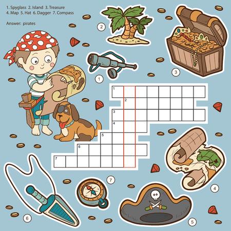 isla del tesoro: Vector de color crucigrama, juego de la educaci�n para los ni�os de piratas (catalejo, isla, tesoro, mapa, sombrero, daga, br�jula) Vectores