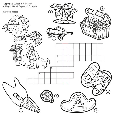 crossword: Vector colorless crossword, education game for children about pirates (spyglass, island, treasure, map, hat, dagger, compass)