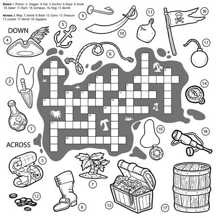 Vector colorless crossword, education game for children about pirates (map, treasure, hat, poison, dagger, anchor, rope, hook, saber, compass, flag, bomb, spyglass, coins)