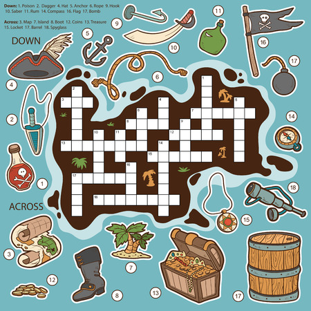 pirate treasure: Vector color crossword, education game for children about bathroom and beauty items (bathrobe, soap, towel, shampoo, hairdryer, comb, toothbrush, mirror)