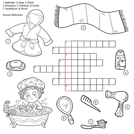 bathrobe: Vector colorless crossword, education game for children about bathroom and beauty items (bathrobe, soap, towel, shampoo, hairdryer, comb, toothbrush, mirror)